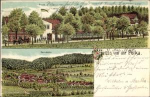 Litho Saalborn Blankenhain in der Talsenke der Schwarza Thüringen, Polka, Saalborn