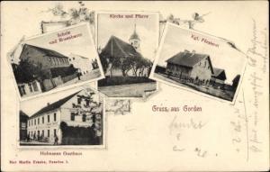 Ak Gorden Staupitz Brandenburg, Schule und Rosenbaum, Kirche, Pfarre, Försterei, Hofmanns Gasthaus