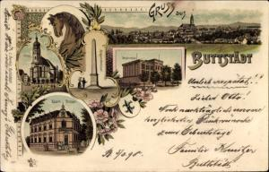 Litho Buttstädt im Thüringer Becken, Kirche, Postamt, Sophienschule, Kriegerdenkmal, Pferd