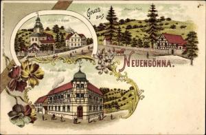 Litho Neuengönna Thüringen, Kirche, Schule, Glein's Gasthof, Straße im Dorf