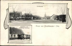 Ak Smogolice Bruchhausen Pommern, Dorfstraße, Gasthaus Gottfried Schwarz
