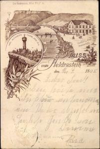 Litho Treffurt im Wartburgkreis Thüringen, Gruß vom Heldrastein, Carl Alexander Turm