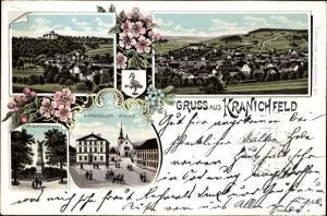 Litho Kranichfeld im Mittleren Ilmtal Thüringen, Ratskeller, Kirche, Kriegerdenkmal