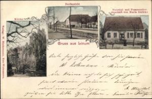 Ak Linum Fehrbellin Brandenburg, Kirche, Dorfansicht,Material- und Posamentiergeschäft Maria Gericke