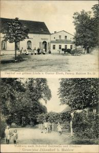 Ak Jühnsdorf Blankenfelde Mahlow Brandenburg, Gasthof zur grünen Linde, Inh. Gustav Ebert, Waldweg