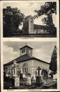 Ak Sottrum Holle im Harzvorland, Evangelische Kirche, Katholische Kirche, Gräber