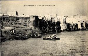 Ak Azemmour Marokko, Le Bac sur l'Oum er Rebia, Fähre und Anlegestelle, Küstenpartie
