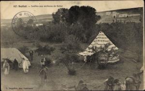 Ak Settat Marokko, Jardins aux environs, Gärten, Zelte, Pferde