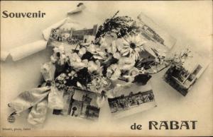 Ak Rabat Marokko, Miniaturansichten der Stadt, Blumen