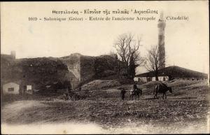 Ak Thessaloniki Griechenland, Entree de l'ancienne Acropole, Citadelle
