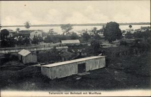 Ak Douala in Kamerun, Teilansicht von Bellstadt mit Wurifluss