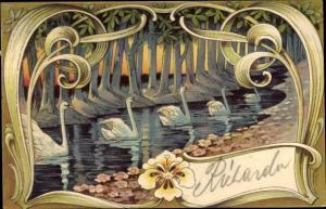 Jugendstil Passepartout Ak Schwäne schwimmen in eine Bach, Stiefmütterchen
