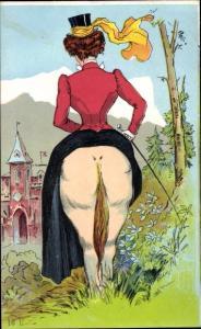 Ak Frau reitet auf Pferd, Hinterteil