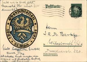 Ganzsachen Ak Oberschlesien, 22 März, 1921 bis 1931, Wappen, 8 Pfennig