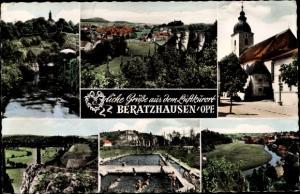 Ak Beratzhausen Oberpfalz, Totale, Freibad, Kirche