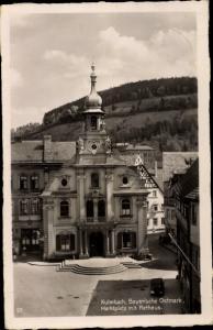 Ak Kulmbach in Oberfranken, Rathaus, Marktplatz