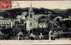 Ak Bologhine Saint Eugene Algerien, Église et les villa, Kirche mit Villen