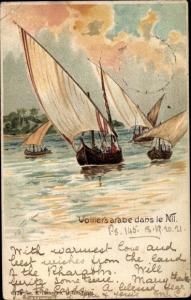 Künstler Litho Ägypten, Voiliers arabe dans le Nil, Segelboote