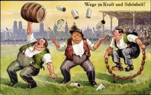 Ak Wege zu Kraft und Schönheit, Bierfass stemmen, Bierkrüge jonglieren, Wurstkette hüpfen