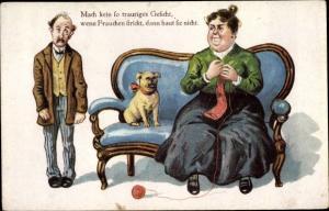 Ak Frauchen beim Stricken, Hund, Ehemann, Ehe, Mach kein so trauriges Gesicht