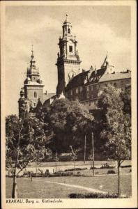 Ak Kraków Krakau Polen, Burg und Kathedrale