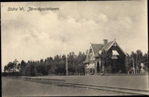 Ak Södra Vi Schweden, Järnvägsstationen, Bahnhof