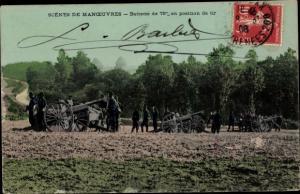 Ak Scenes de Manoeuvres, Batterie de 75 mm en position de tir