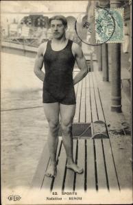 Ak Sports, Natation, Renou, Schwimmer in Badeanzug