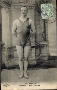 Ak Sports, Natation, Paul Vasseur, Schwimmer in Badeanzug
