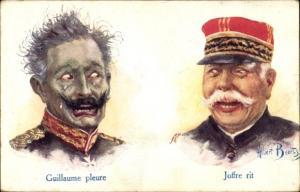 Künstler Ak Beerts, Albert, Guillaume pleure, Joffre rit, Kaiser Wilhelm II., Karikatur