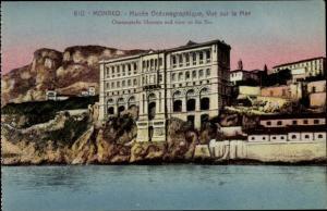 Ak Monaco, Musee Oceanographique, Vue sur la Mer