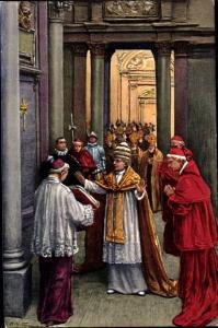 Künstler Ak Papst Pius X, Gebet vor der Öffnung der Porta Santa im Petersdom, 1924