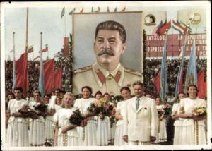 Ak Die Jugend der Welt, Porträt Josef Stalin, Frauen mit Blumensträußen