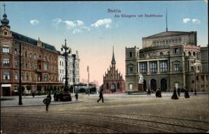 Ak Szczecin Stettin Pommern, Am Königstor, Stadttheater