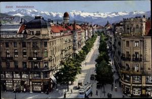 Ak Zürich Stadt Schweiz, Bahnhofstraße, Straßenbahn, Papeterie, Patisserie, Terminus Hotel