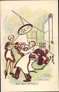 Künstler Ak Ehrhart, Une dent difficile, Zahnarzt