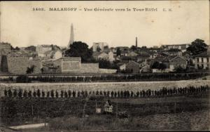 Ak Malakoff Hauts de Seine, Vue Generale vers la Tour Eiffel