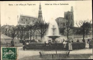 Ak Sens Yonne, Jet d'Eau du Tapis vert, Hotel de Ville et Cathedrale