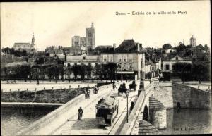 Ak Sens Yonne, Entree de la Ville et le Pont