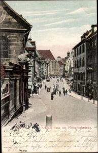 Ak Nürnberg in Mittelfranken, Schlachthaus mit Fleischerbrücke