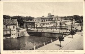 Ak Fürth in Mittelfranken Bayern, Maxbrücke mit Schlachthof, Fischhäusla, Rednitzstrand