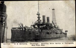 Ak US Battleship Mississippi, Receiving Silver Service at Pascagonia, Moss Point Mississippi