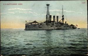 Ak US Battleship Ohio, amerikanisches Kriegsschiff