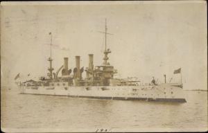 Foto Ak Amerikanisches Kriegsschiff auf See, 1907