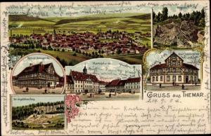 Litho Themar Thüringen, Herzogliches Amtsgericht, Marktplatz, Feldstein, Städtische Beamtenschule