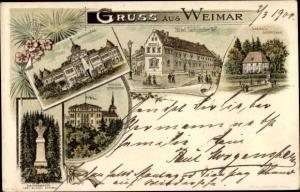 Litho Weimar in Thüringen, Belvedere, Hotel Sächsischer Hof, Goethe's Garrenhaus, Schloss Ettersburg