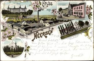 Litho Neersen Willich Westfalen, Schloss, Bierbrauerei Henrichs, Kapelle Klein Jerusalem