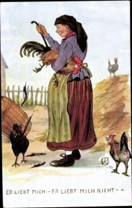 Künstler Ak Er liebt mich, er liebt mich nicht, Bäuerin rupft ein Huhn