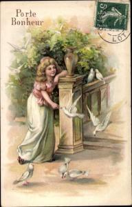 Präge Litho Porte Bonheur, Mädchen füttert Tauben