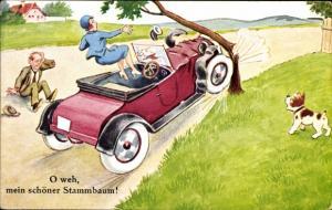 Ak O weh mein schöner Stammbaum, Paar fährt mit Auto gegen Baum, Hund
